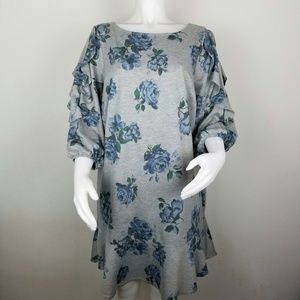Westport 1X Gray With Blue Floral Ruffle Dress